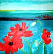 "Poppie Landscape 10""x12 oil on canvas"